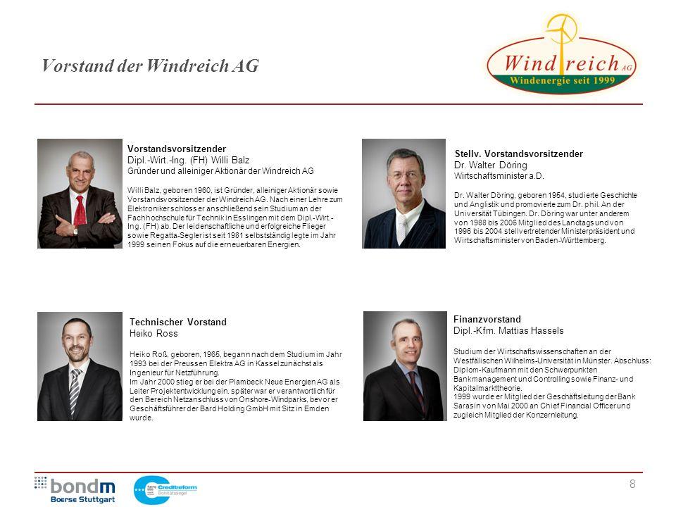 8 Vorstand der Windreich AG Vorstandsvorsitzender Dipl.-Wirt.-Ing. (FH) Willi Balz Gründer und alleiniger Aktionär der Windreich AG Willi Balz, gebore