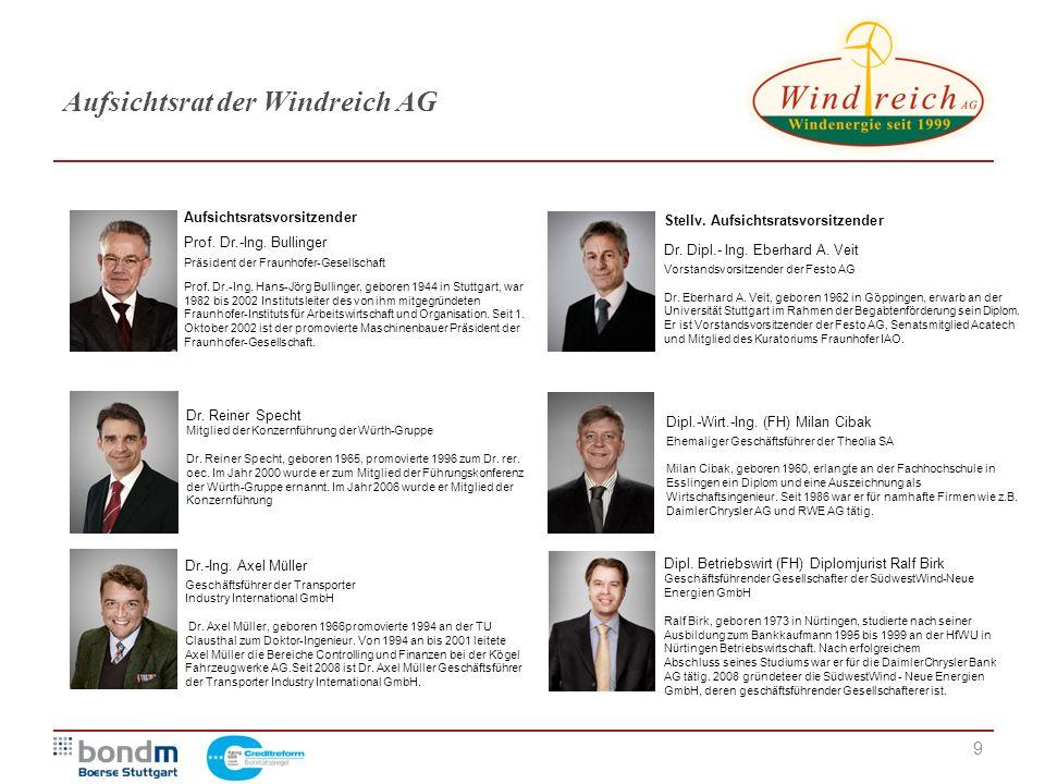 9 Aufsichtsrat der Windreich AG Dr. Reiner Specht Mitglied der Konzernführung der Würth-Gruppe Dr. Reiner Specht, geboren 1965, promovierte 1996 zum D