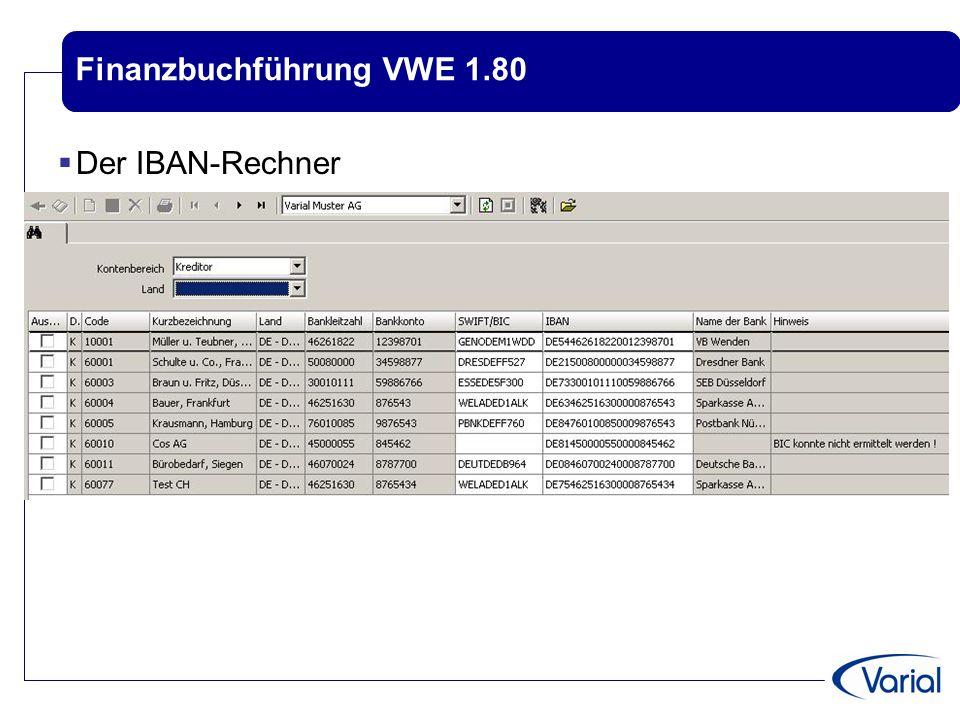 Finanzbuchführung VWE 1.80  Der IBAN-Rechner