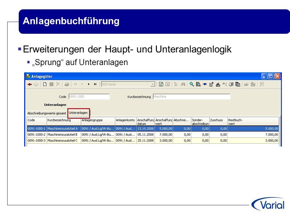 """Anlagenbuchführung  Erweiterungen der Haupt- und Unteranlagenlogik  """"Sprung"""" auf Unteranlagen"""