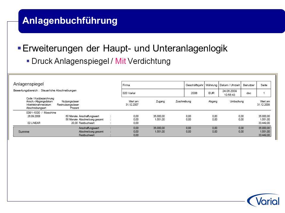 Anlagenbuchführung  Erweiterungen der Haupt- und Unteranlagenlogik  Druck Anlagenspiegel / Mit Verdichtung