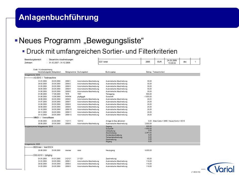 """Anlagenbuchführung  Neues Programm """"Bewegungsliste""""  Druck mit umfangreichen Sortier- und Filterkriterien"""
