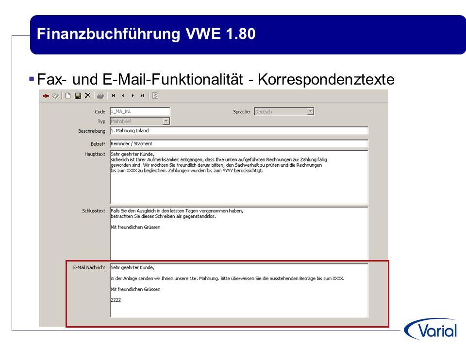 Finanzbuchführung VWE 1.80  Fax- und E-Mail-Funktionalität - Korrespondenztexte