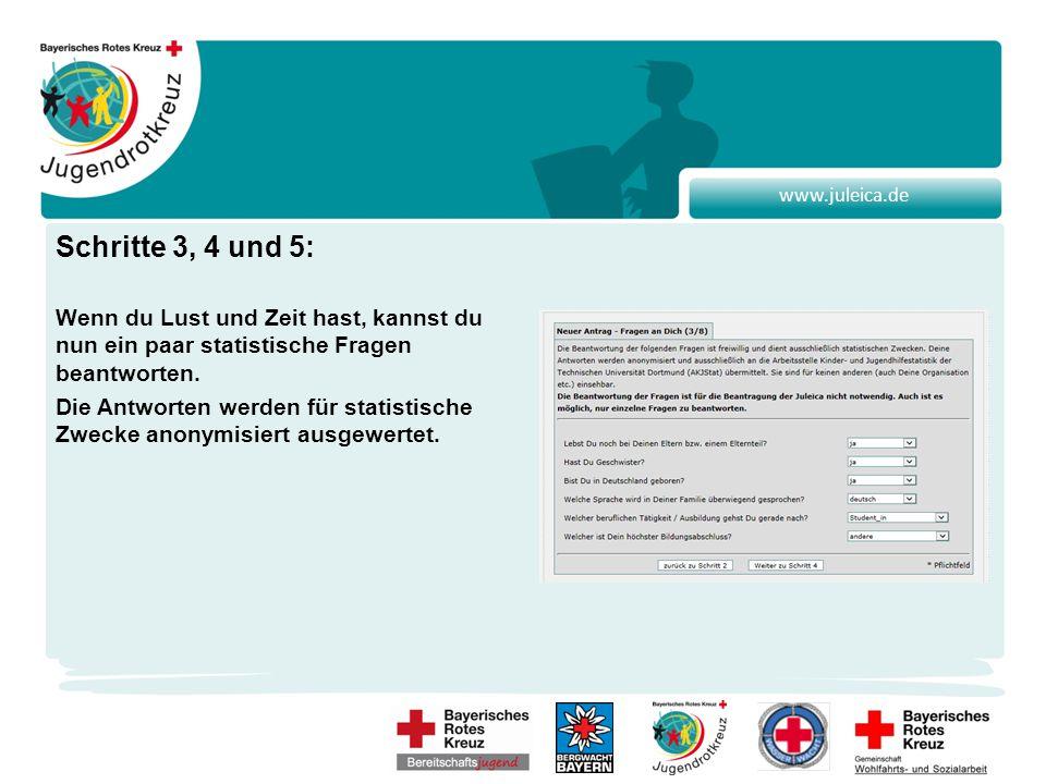 www.juleica.de Schritte 3, 4 und 5: Wenn du Lust und Zeit hast, kannst du nun ein paar statistische Fragen beantworten.