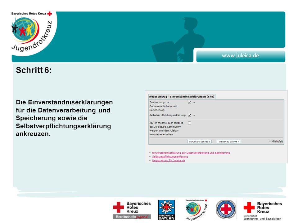 www.juleica.de Schritt 6: Die Einverständniserklärungen für die Datenverarbeitung und Speicherung sowie die Selbstverpflichtungserklärung ankreuzen.