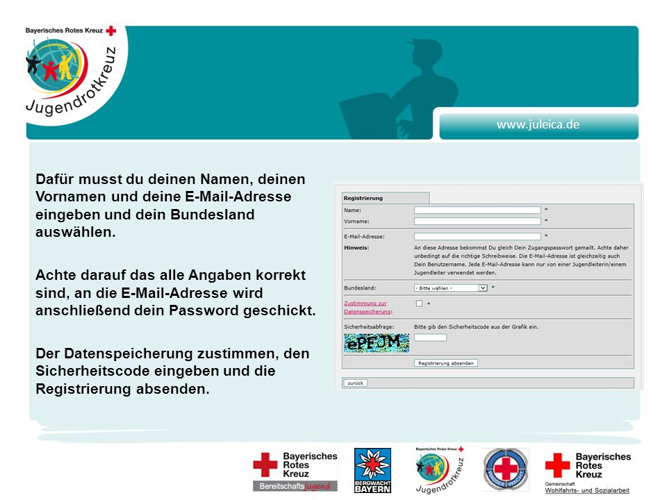 www.juleica.de Der Antrag ist nun fertig und alle angegebenen Daten können noch einmal vor dem Abschicken überprüft werden.