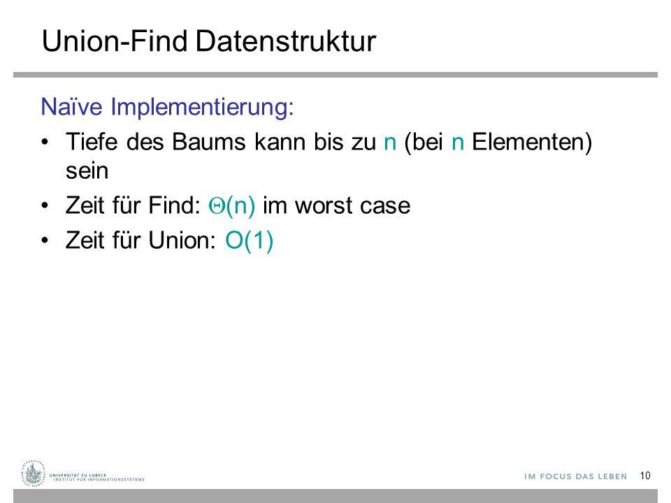 10 Union-Find Datenstruktur Naïve Implementierung: Tiefe des Baums kann bis zu n (bei n Elementen) sein Zeit für Find:  (n) im worst case Zeit für Un