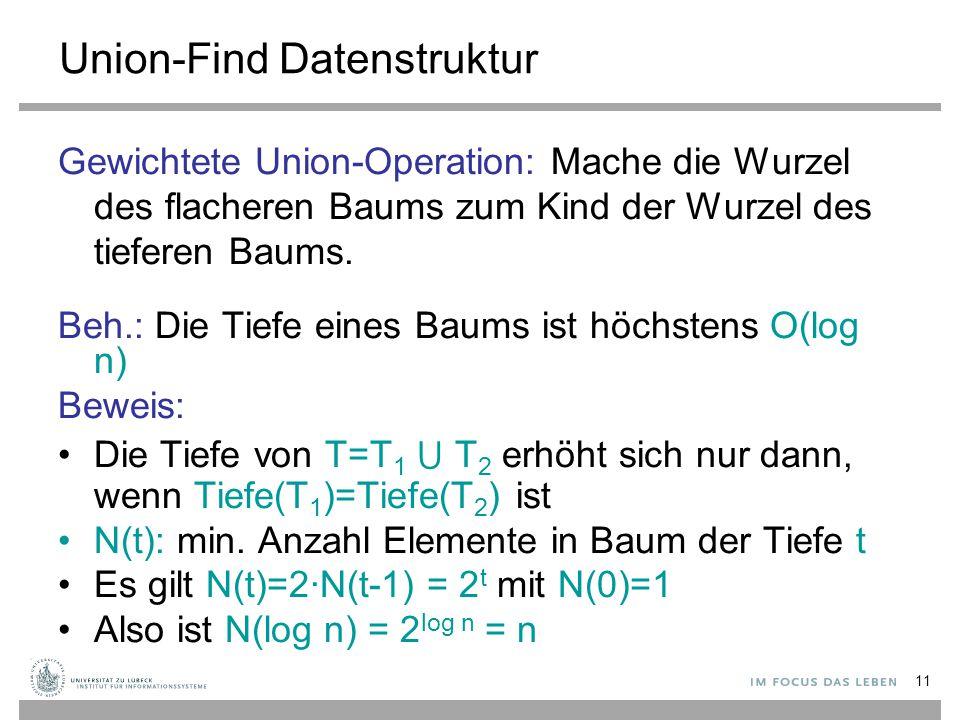 11 Union-Find Datenstruktur Gewichtete Union-Operation: Mache die Wurzel des flacheren Baums zum Kind der Wurzel des tieferen Baums. Beh.: Die Tiefe e