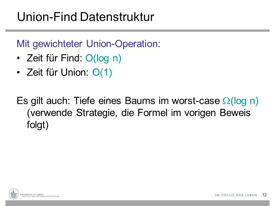 12 Union-Find Datenstruktur Mit gewichteter Union-Operation: Zeit für Find: O(log n) Zeit für Union: O(1) Es gilt auch: Tiefe eines Baums im worst-cas