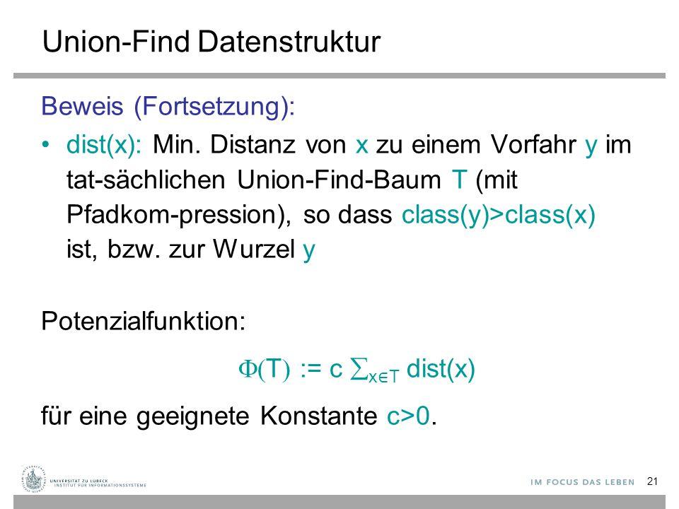 21 Union-Find Datenstruktur Beweis (Fortsetzung): dist(x): Min. Distanz von x zu einem Vorfahr y im tat-sächlichen Union-Find-Baum T (mit Pfadkom-pres
