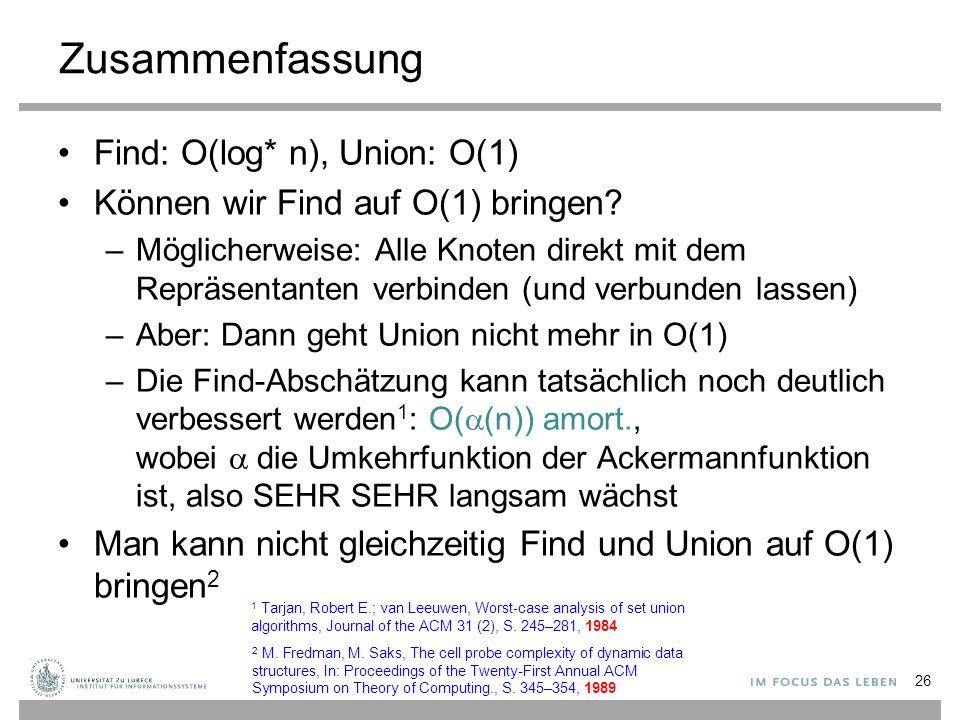 Zusammenfassung Find: O(log* n), Union: O(1) Können wir Find auf O(1) bringen? –Möglicherweise: Alle Knoten direkt mit dem Repräsentanten verbinden (u