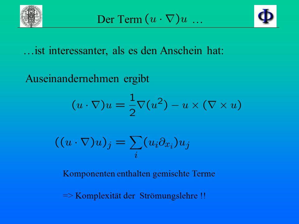 Euler-Gleichung eben gemachte Annahmen in die Navier-Stokes- Gleichung einsetzen man erhält die Beschreibung einer idealen Strömung - die Euler-Gleich
