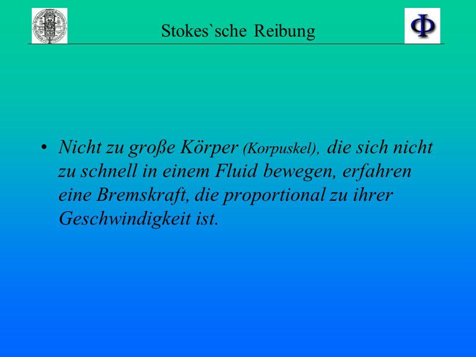 Stokes`sche Reibung Nicht zu große Körper (Korpuskel), die sich nicht zu schnell in einem Fluid bewegen, erfahren eine Bremskraft, die proportional zu ihrer Geschwindigkeit ist.