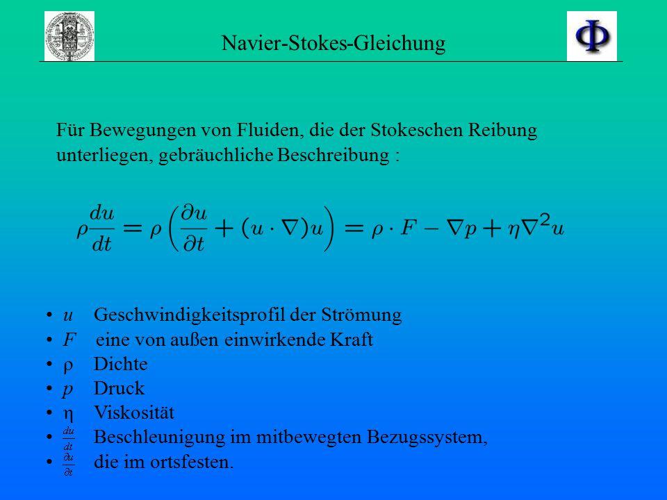 Navier-Stokes-Gleichung Für Bewegungen von Fluiden, die der Stokeschen Reibung unterliegen, gebräuchliche Beschreibung : u Geschwindigkeitsprofil der Strömung F eine von außen einwirkende Kraft ρ Dichte p Druck η Viskosität Beschleunigung im mitbewegten Bezugssystem, die im ortsfesten.