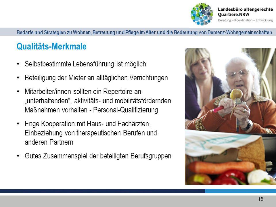 Bedarfe und Strategien zu Wohnen, Betreuung und Pflege im Alter und die Bedeutung von Demenz-Wohngemeinschaften Kosten und Refinanzierung Miete inkl.