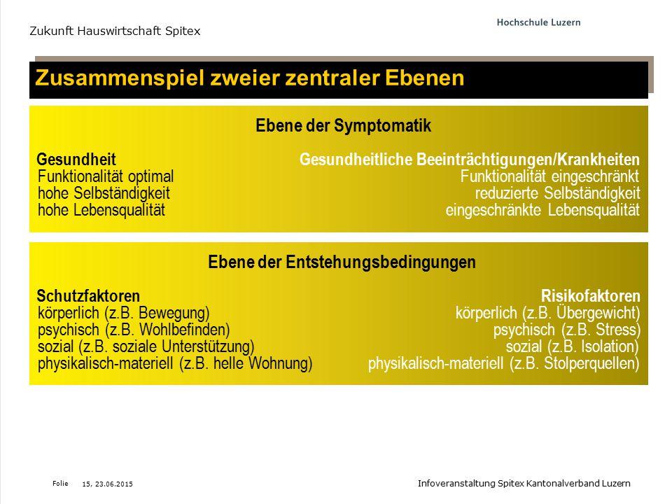 Folie Zusammenspiel zweier zentraler Ebenen Zukunft Hauswirtschaft Spitex 15, 23.06.2015 Infoveranstaltung Spitex Kantonalverband Luzern Ebene der Sym