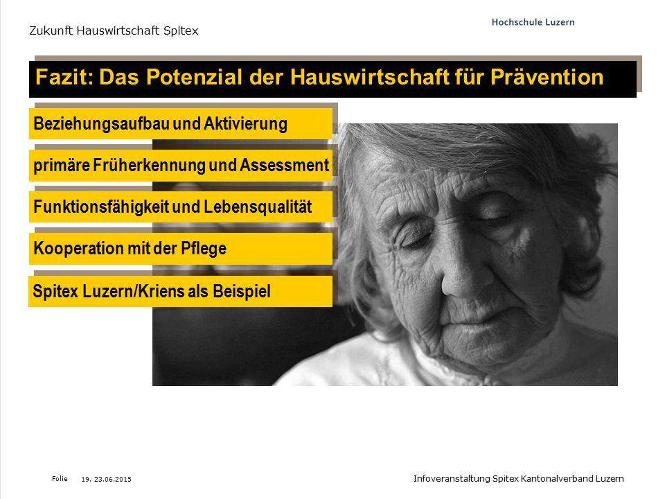 Folie Fazit: Das Potenzial der Hauswirtschaft für Prävention Beziehungsaufbau und Aktivierung Funktionsfähigkeit und Lebensqualität primäre Früherkenn