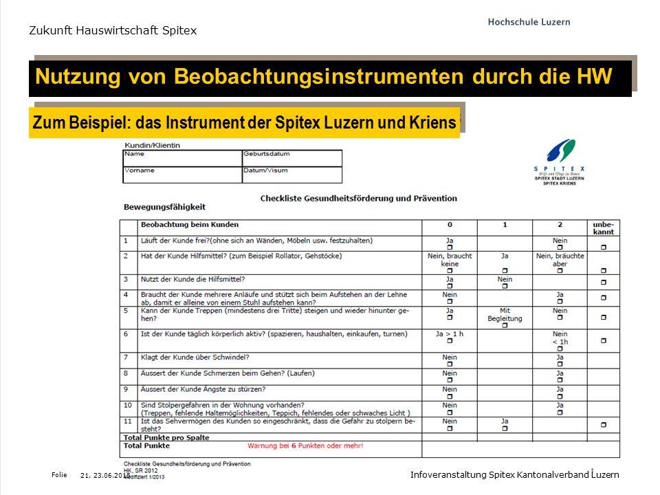 Folie Projekt-Meeting 'Zukunft Hauswirtschaft Spitex, 24. März 2014 Nutzung von Beobachtungsinstrumenten durch die HW Zum Beispiel: das Instrument der