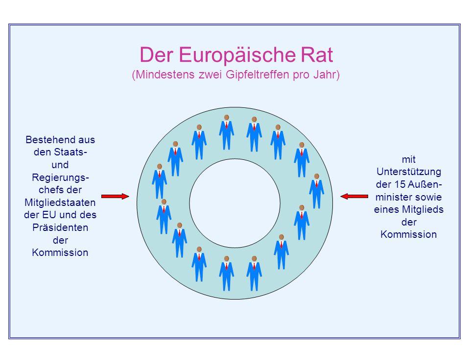 Europäischer Rat Im Europäischen Rat kommen die Staats- u. Regierungschefs der fünfzehn Mitgliedstaaten der Europäischen Union sowie der Präsident der