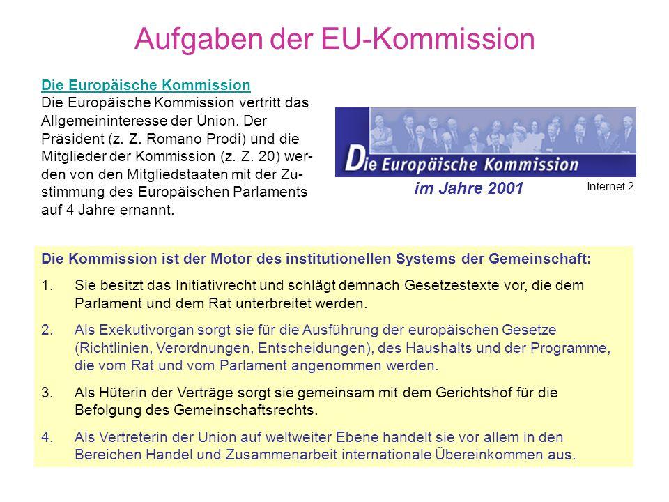 Die EU-Kommission in Brüssel Exekutivorgan der EU Kommission der Europäischen Union 20 Kommissare von den Regierungen der Mitgliedstaaten einvernehmli