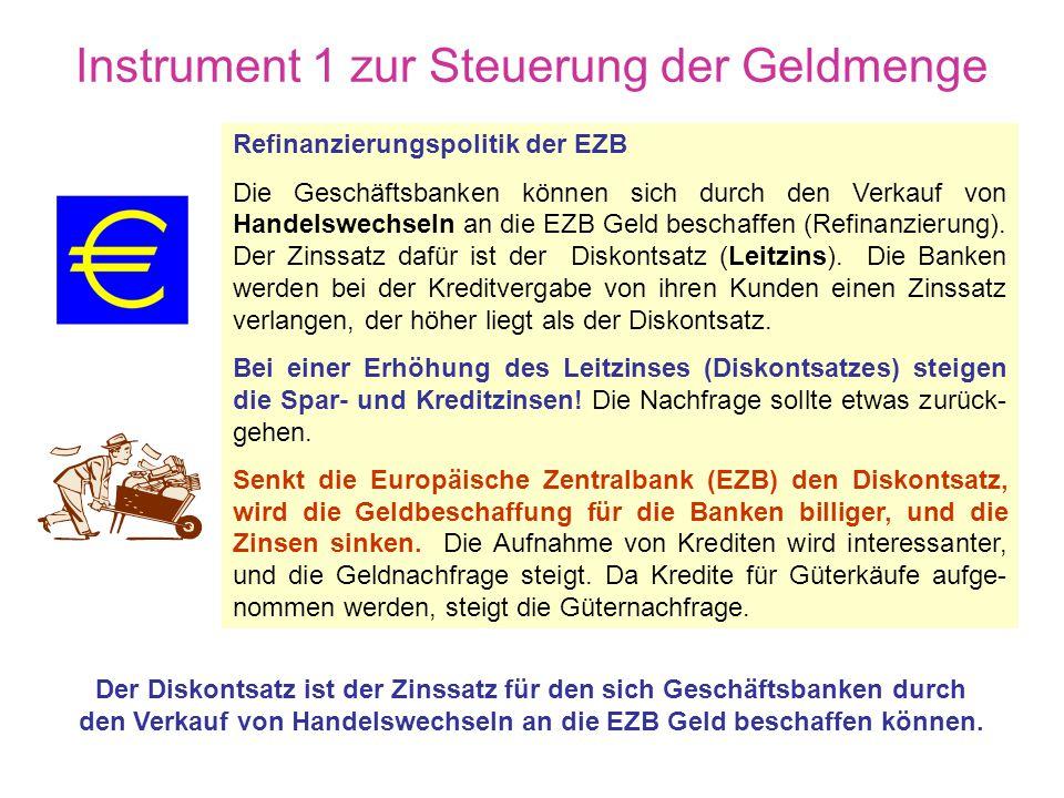 Möglichkeiten der EZB die Konjunktur zu beeinflussen Der Umfang der Geldmenge hängt von der Geldnachfrage und dem Geldangebot ab. Die Geldnachfrage wi
