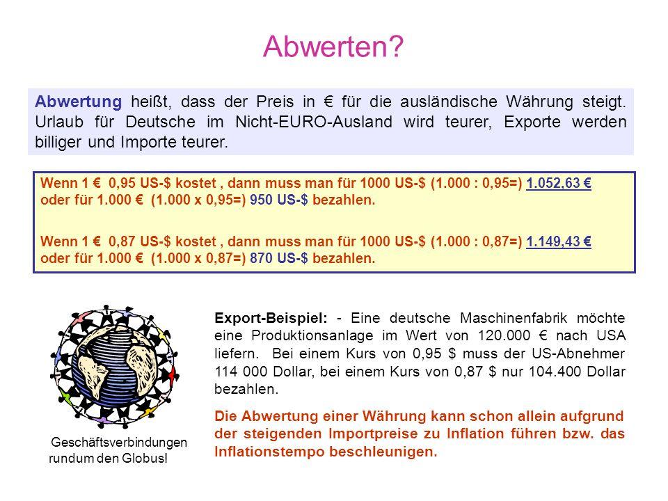 Aufwerten? Aufwertung heißt, dass der Preis in € für die ausländische Währung sinkt. Urlaub für Deutsche im Ausland (außerhalb des EURO-Gebietes) wird