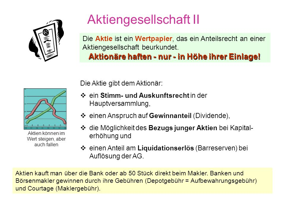 Aktiengesellschaft I Organe der AG Vorstand (vom Aufsichtsrat für max. 5. Jahre bestimmt) und verantwortlich als geschäftsführende Leitung der AG, ein