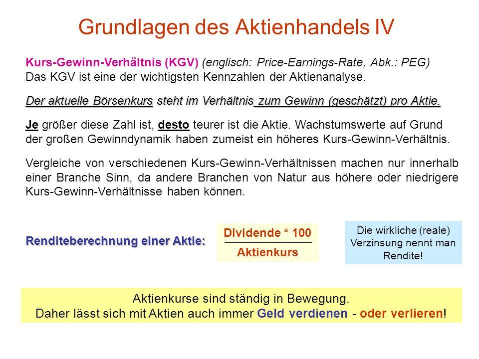 Grundlagen des Aktienhandels III Angebot und Nachfrage an der Börse bestimmen den Kurs (Preis) einer Aktie Beispiel Telekom-Aktie um so mehr Kunden wo
