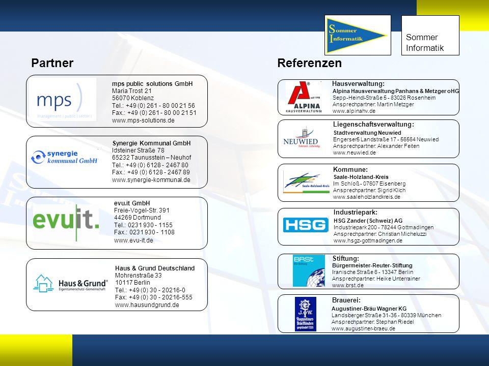 xx Sommer Informatik Referenzen Alpina Hausverwaltung Panhans & Metzger oHG Sepp-Heindl-Straße 5 - 83026 Rosenheim Ansprechpartner: Martin Metzger www