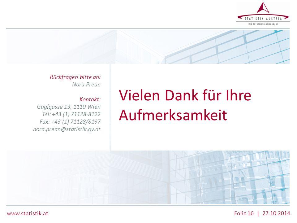 www.statistik.at Folie 16 | 27.10.2014 Rückfragen bitte an: Nora Prean Kontakt: Guglgasse 13, 1110 Wien Tel: +43 (1) 71128-8122 Fax: +43 (1) 71128/813