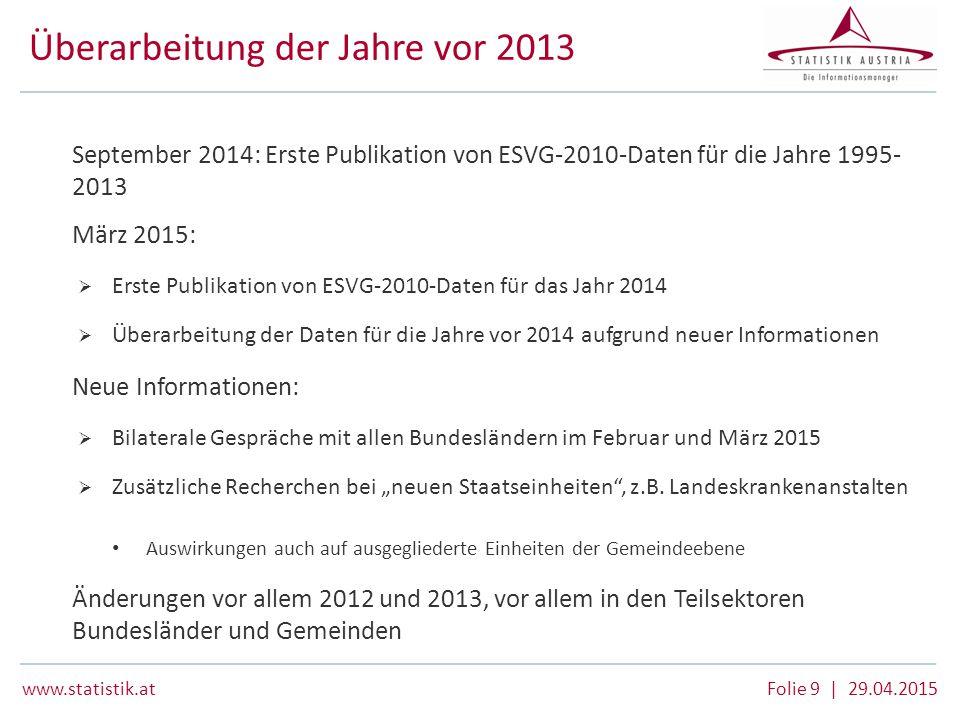 www.statistik.at Folie 9 | 29.04.2015 Überarbeitung der Jahre vor 2013  September 2014: Erste Publikation von ESVG-2010-Daten für die Jahre 1995- 201
