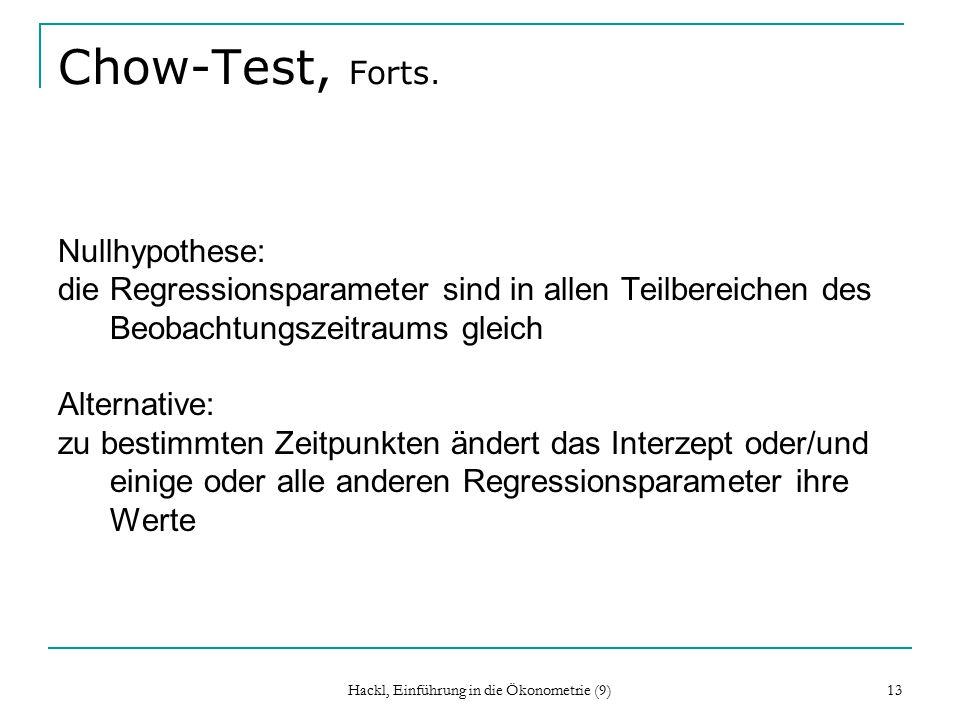 Hackl, Einführung in die Ökonometrie (9) 13 Chow-Test, Forts.