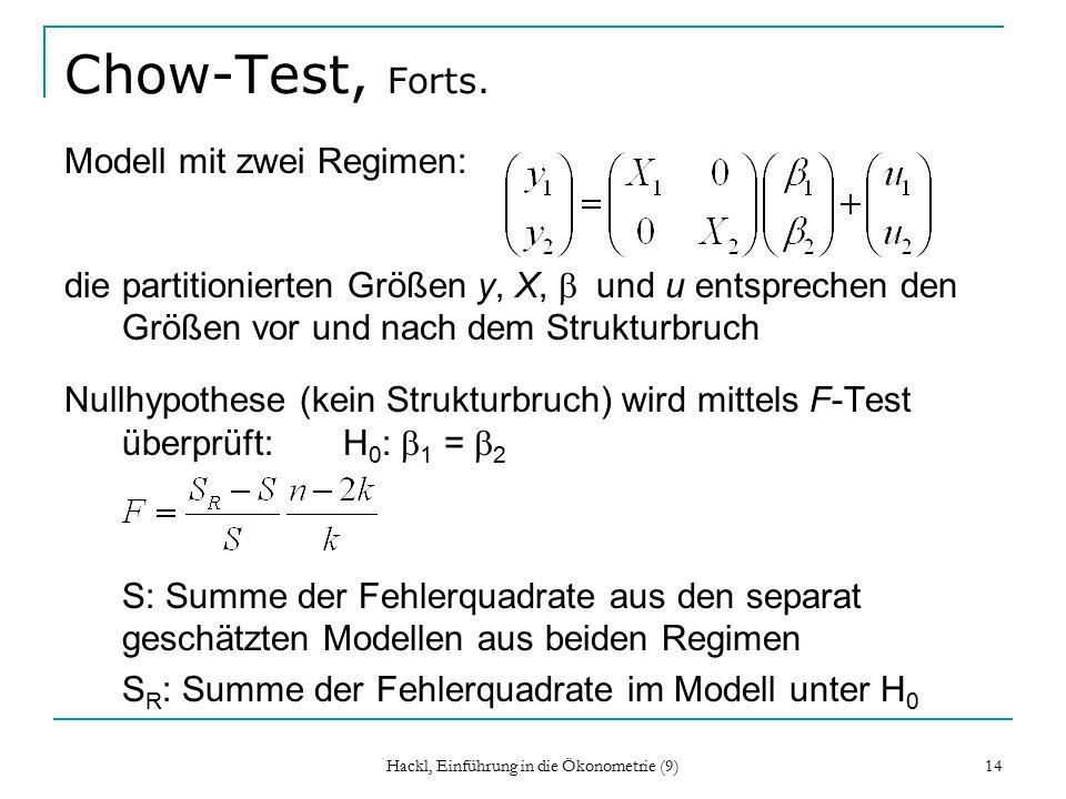 Hackl, Einführung in die Ökonometrie (9) 14 Chow-Test, Forts.