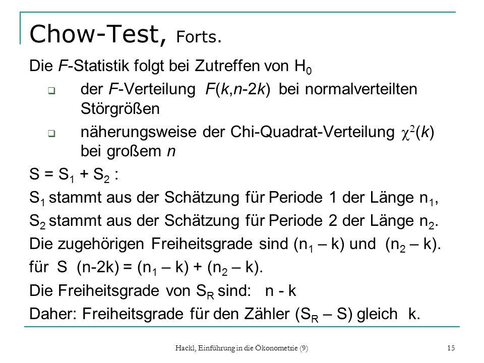 Hackl, Einführung in die Ökonometrie (9) 15 Chow-Test, Forts.