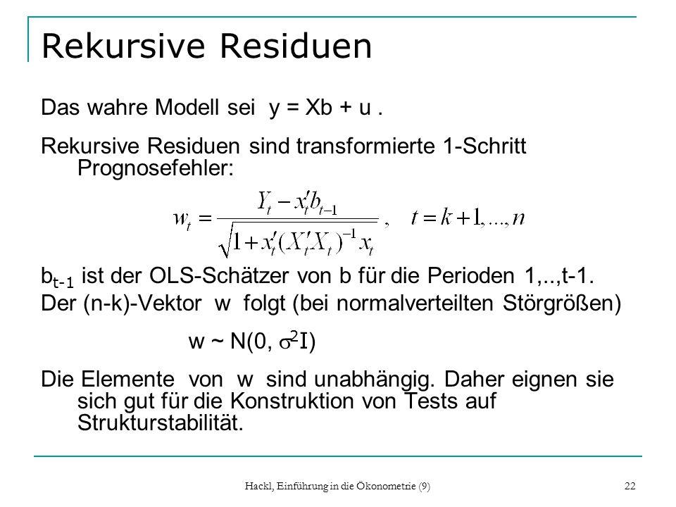 Hackl, Einführung in die Ökonometrie (9) 22 Rekursive Residuen Das wahre Modell sei y = Xb + u.