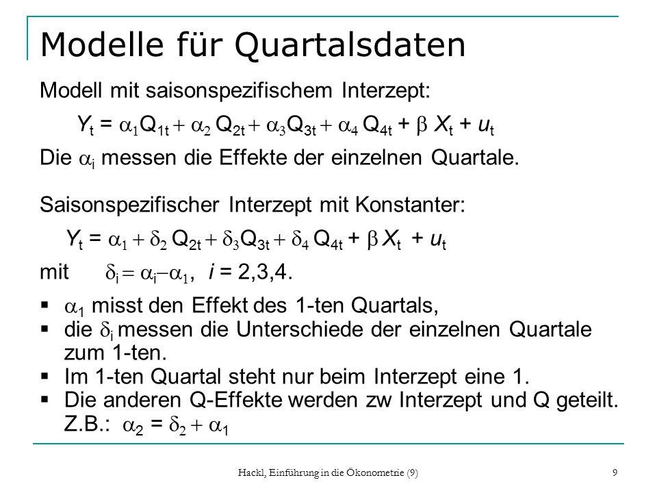 Hackl, Einführung in die Ökonometrie (9) 9 Modelle für Quartalsdaten Modell mit saisonspezifischem Interzept: Y t =   Q 1t   Q 2t   Q 3t   Q 4t  +  X t + u t Die  i  messen die Effekte der einzelnen Quartale.