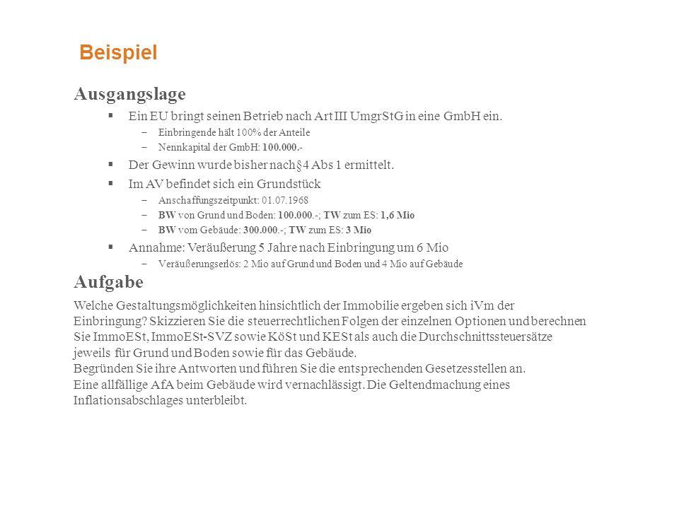 Beispiel Ausgangslage  Ein EU bringt seinen Betrieb nach Art III UmgrStG in eine GmbH ein.