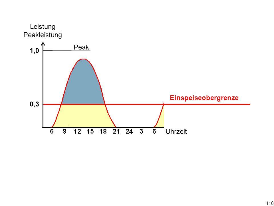 Peak Leistung Peakleistung 1,0 0,3 Uhrzeit 118 Einspeiseobergrenze