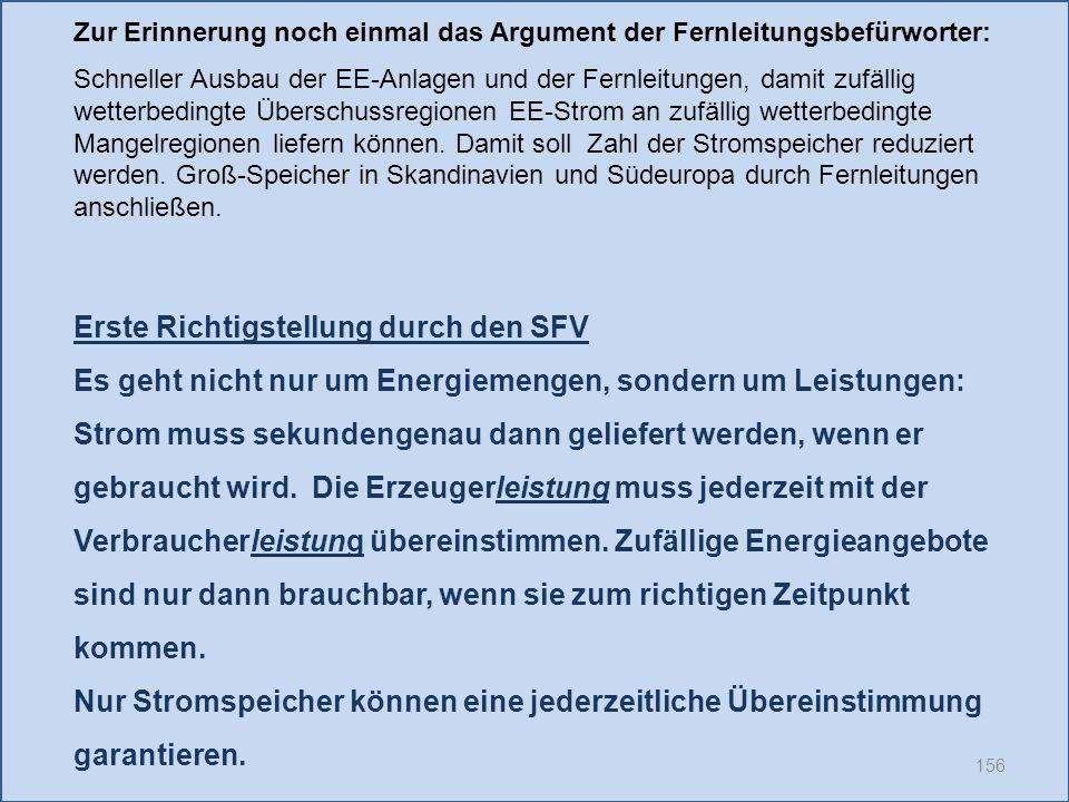 156 Erste Richtigstellung durch den SFV Es geht nicht nur um Energiemengen, sondern um Leistungen: Strom muss sekundengenau dann geliefert werden, wenn er gebraucht wird.