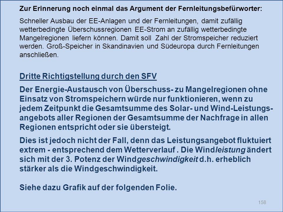 158 Dritte Richtigstellung durch den SFV Der Energie-Austausch von Überschuss- zu Mangelregionen ohne Einsatz von Stromspeichern würde nur funktionier