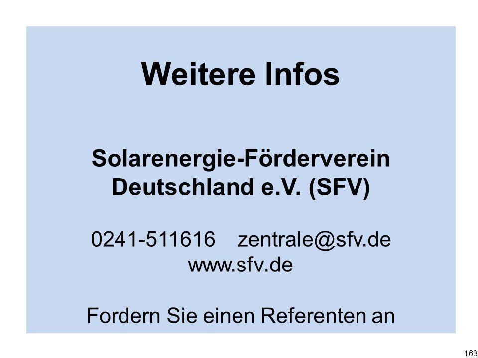 Weitere Infos Solarenergie-Förderverein Deutschland e.V. (SFV) 0241-511616 zentrale@sfv.de www.sfv.de Fordern Sie einen Referenten an 163