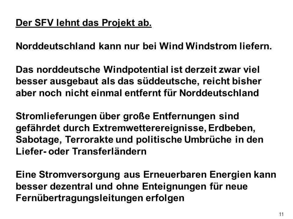 11 Der SFV lehnt das Projekt ab. Norddeutschland kann nur bei Wind Windstrom liefern.