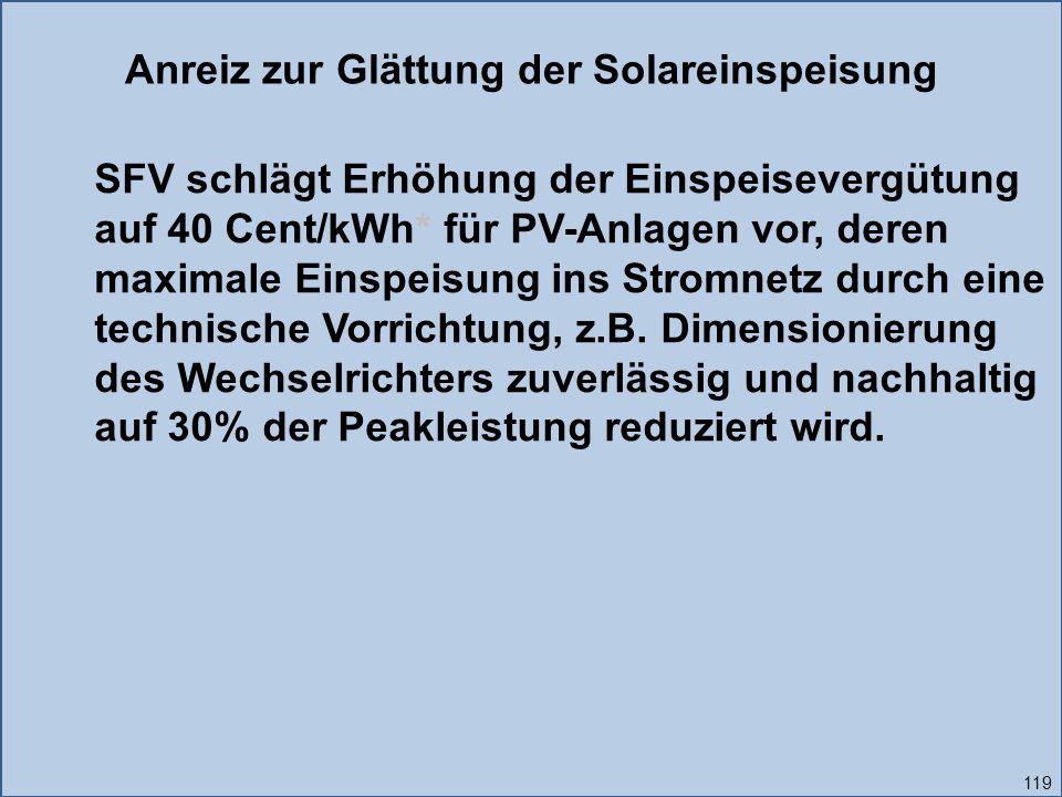 119 Anreiz zur Glättung der Solareinspeisung SFV schlägt Erhöhung der Einspeisevergütung auf 40 Cent/kWh* für PV-Anlagen vor, deren maximale Einspeisung ins Stromnetz durch eine technische Vorrichtung, z.B.