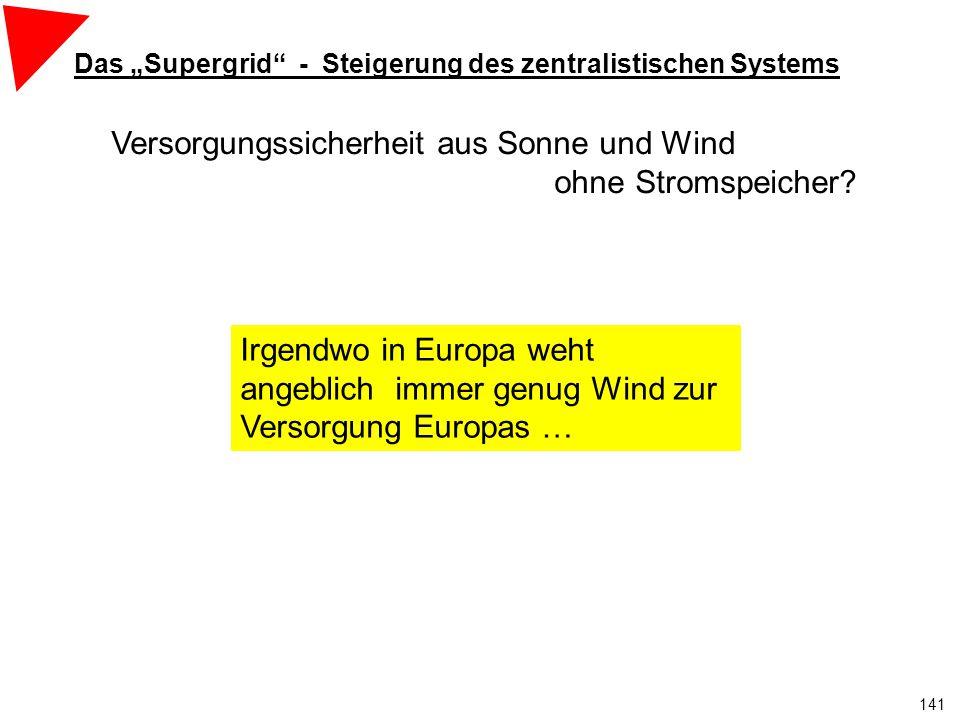 """141 Irgendwo weht immer der Wind zur Versorgung Europas Das """"Supergrid - Steigerung des zentralistischen Systems Versorgungssicherheit aus Sonne und Wind ohne Stromspeicher."""