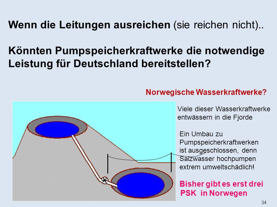 34 Viele dieser Wasserkraftwerke entwässern in die Fjorde Ein Umbau zu Pumpspeicherkraftwerken ist ausgeschlossen, denn Salzwasser hochpumpen extrem umweltschädlich.