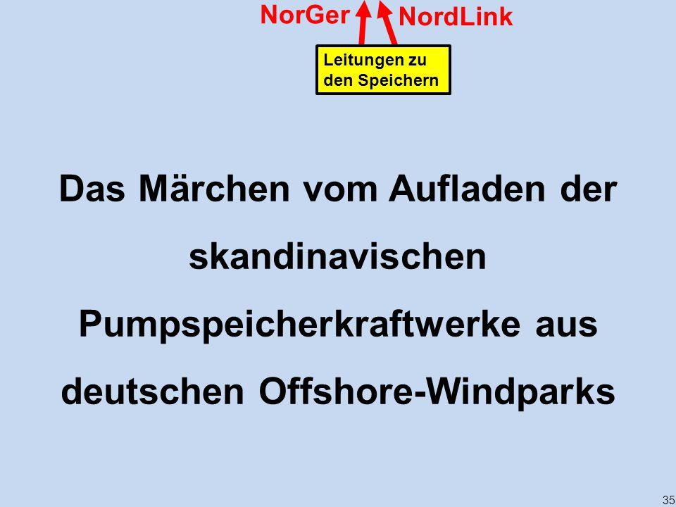 35 NordLink NorGer Leitungen zu den Speichern Das Märchen vom Aufladen der skandinavischen Pumpspeicherkraftwerke aus deutschen Offshore-Windparks