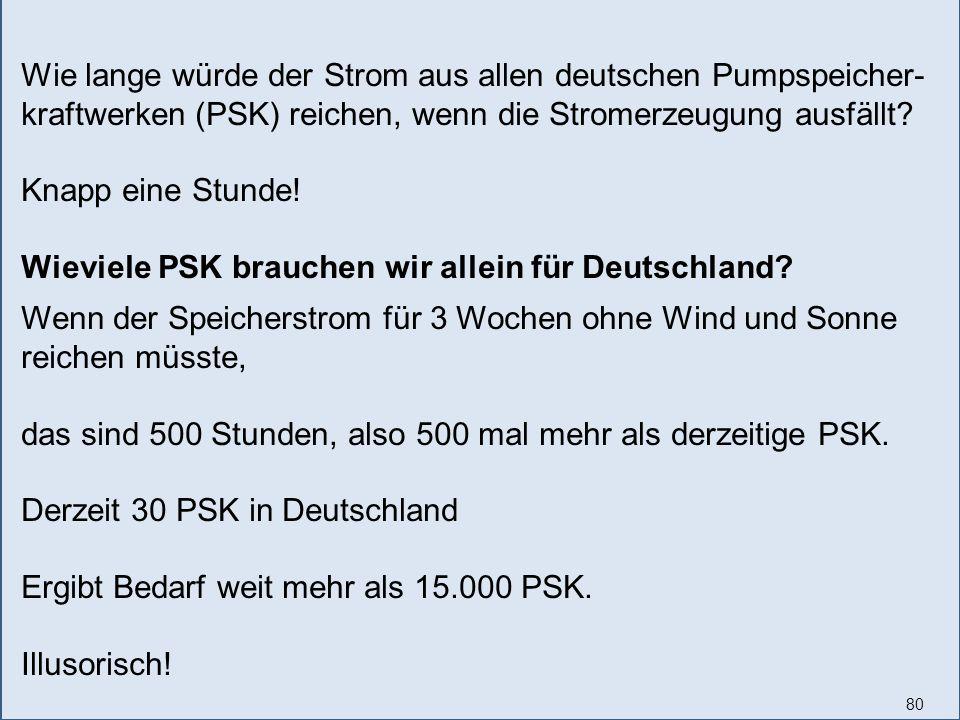 80 Wie lange würde der Strom aus allen deutschen Pumpspeicher- kraftwerken (PSK) reichen, wenn die Stromerzeugung ausfällt.