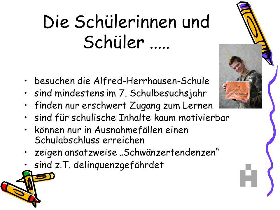 Die Schülerinnen und Schüler..... besuchen die Alfred-Herrhausen-Schule sind mindestens im 7. Schulbesuchsjahr finden nur erschwert Zugang zum Lernen