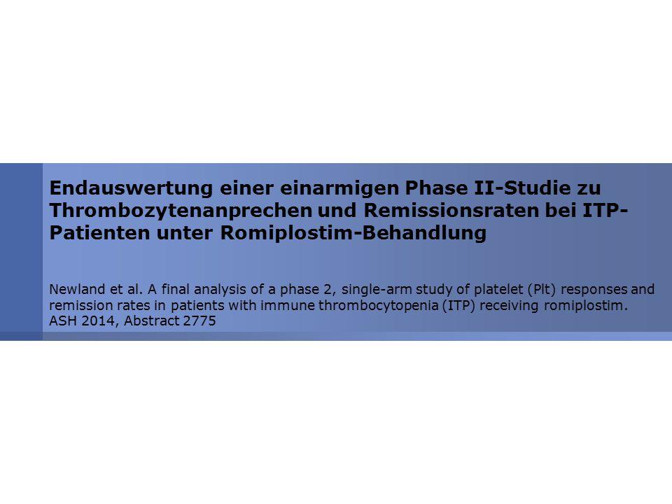 Endauswertung einer einarmigen Phase II-Studie zu Thrombozytenanprechen und Remissionsraten bei ITP- Patienten unter Romiplostim-Behandlung Newland et