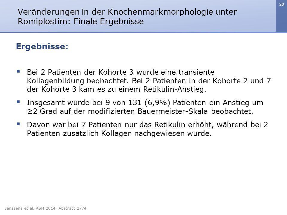 20 Veränderungen in der Knochenmarkmorphologie unter Romiplostim: Finale Ergebnisse Janssens et al. ASH 2014, Abstract 2774 Ergebnisse:  Bei 2 Patien